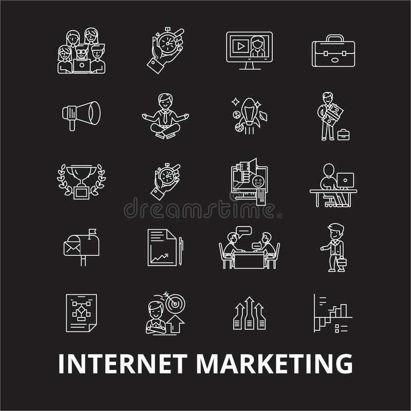 Internetowy marketingowy editable kreskowy ikony wektorowy ustawiający na czarnym tle Internetowe marketingowe białe kontur ilust royalty ilustracja