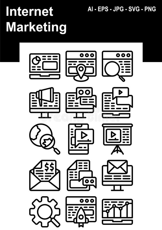 Internetowy marketingowy ikona set ilustracji