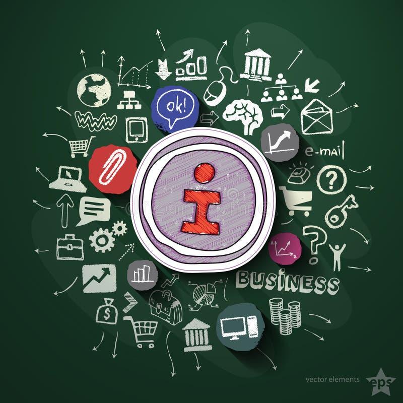 Internetowy marketingowy kolaż z ikonami dalej ilustracja wektor
