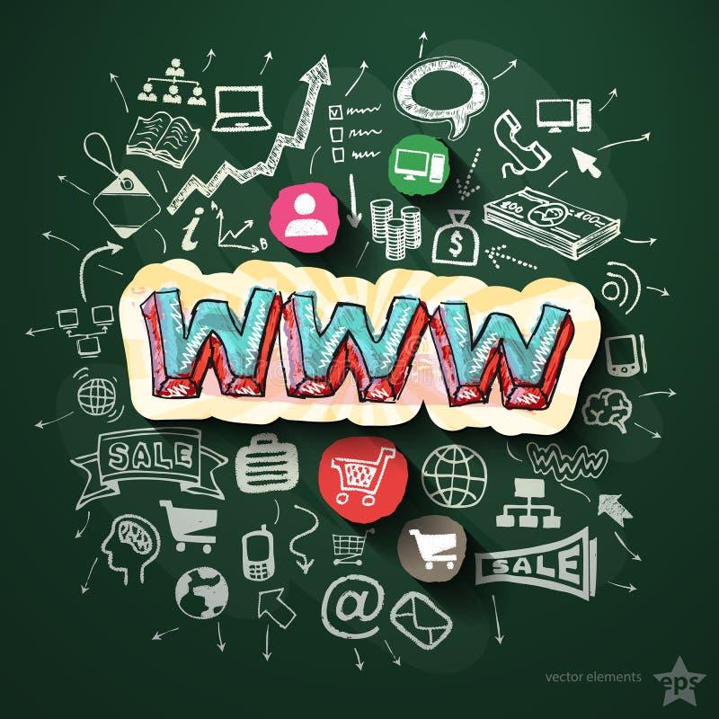 Internetowy marketingowy kolaż z ikonami dalej ilustracji