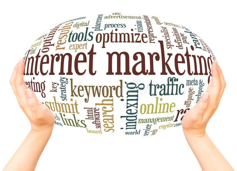 Internetowy marketingu słowa chmury ręki sfery pojęcie fotografia stock