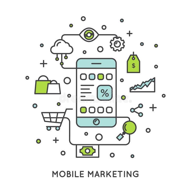 Internetowy Mobilny marketingu i promoci proces ilustracja wektor