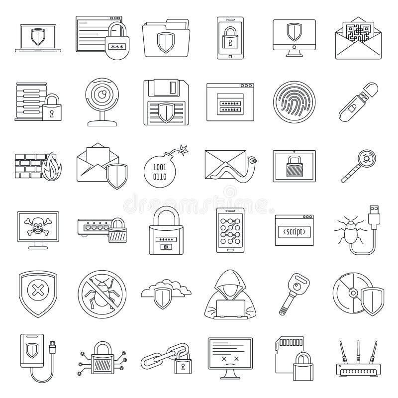 Internetowy ochrony ikony set, konturu styl ilustracja wektor