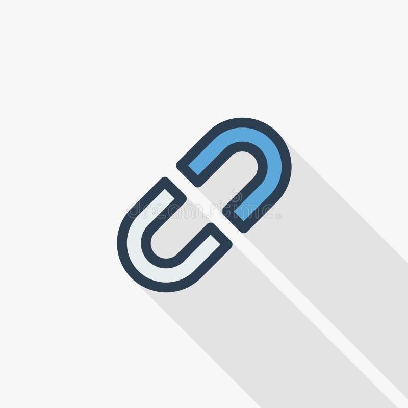 Internetowy połączenie, łamająca łańcuchu koloru cienka kreskowa płaska ikona Liniowy wektorowy symbol Kolorowy długi cienia proj ilustracji
