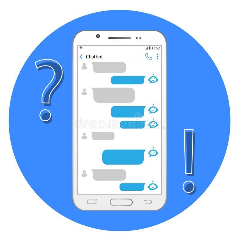 Internetowy pomagier Pojęcia chatbot Gadka w smartphone ilustracji