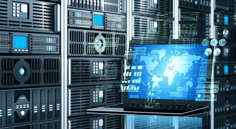 Internetowy serweru laptop royalty ilustracja