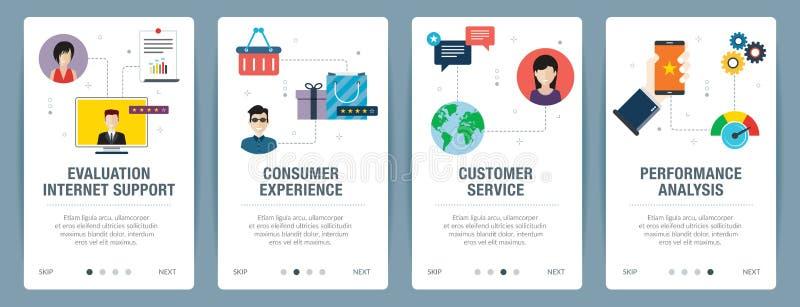 Internetowy sztandar ustawiający cenienia, obsługi klientej i występu analizy ikony, ilustracja wektor