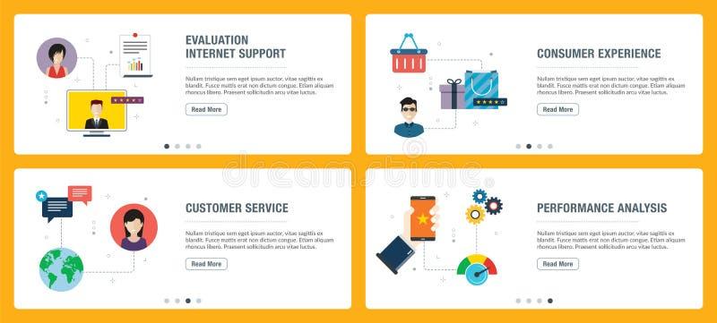Internetowy sztandar ustawiający cenienia, obsługi klientej i występu analizy ikony, ilustracji