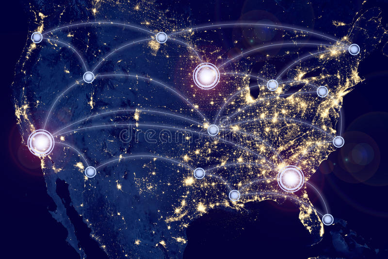 Internetowy technologii pojęcie globalnego biznesu lub socjalny sieć royalty ilustracja