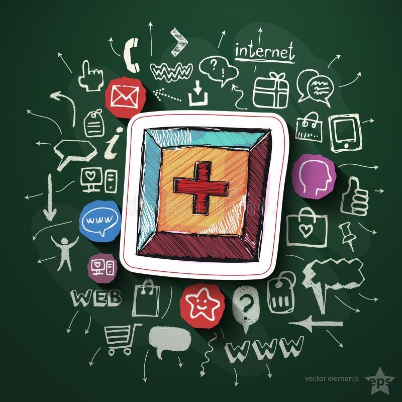 Internetowy zakupy kolaż z ikonami na blackboard ilustracja wektor