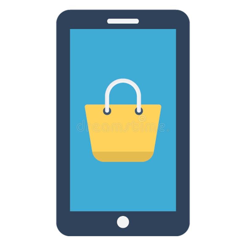 Internetowy zakupy, mobilny app Odizolowywał Wektorową ikonę która może łatwo redagująca royalty ilustracja