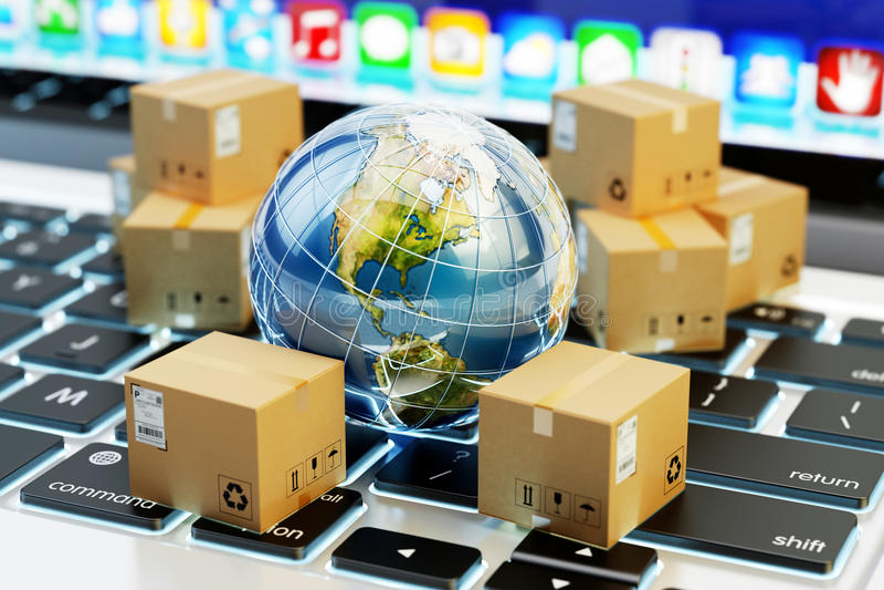 Internetowy zakupy, online zakupy, handel elektroniczny, międzynarodowy pakunek dostawy pojęcie zdjęcie stock