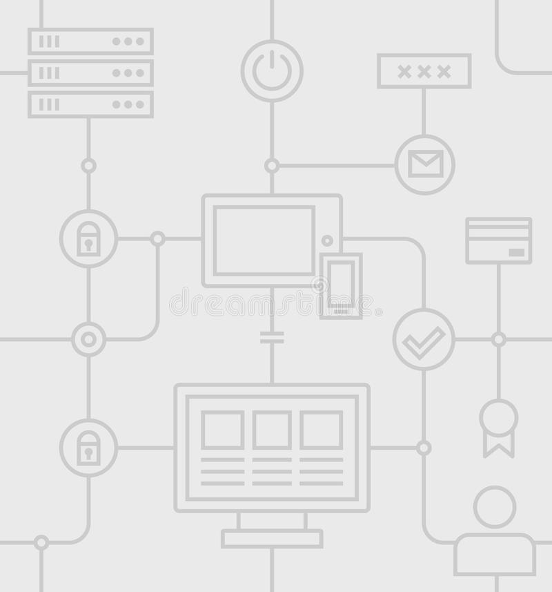 Internetsäkerhet Grey Pattern royaltyfri illustrationer