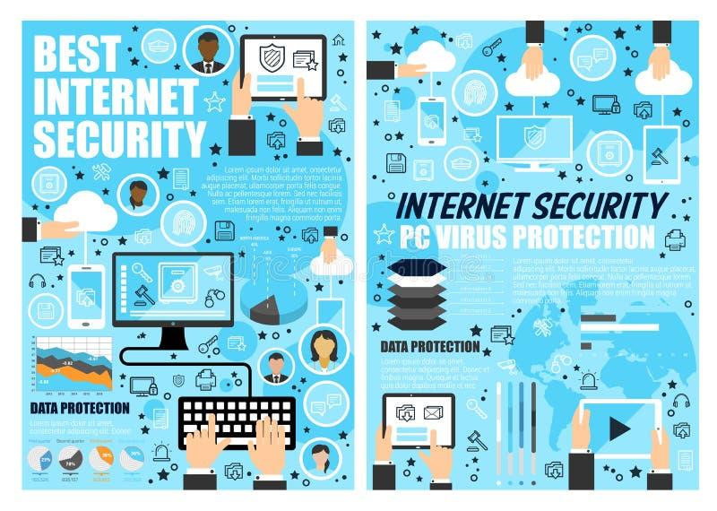 Internetsäkerhet och teknologi för dataskydd royaltyfri illustrationer