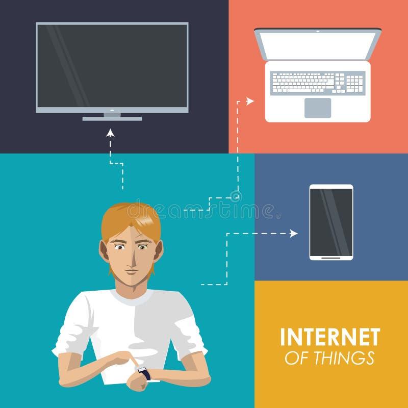 Internetsaker man för tvmobilen för wearable teknologi den moderiktiga smarta bärbara datorn stock illustrationer