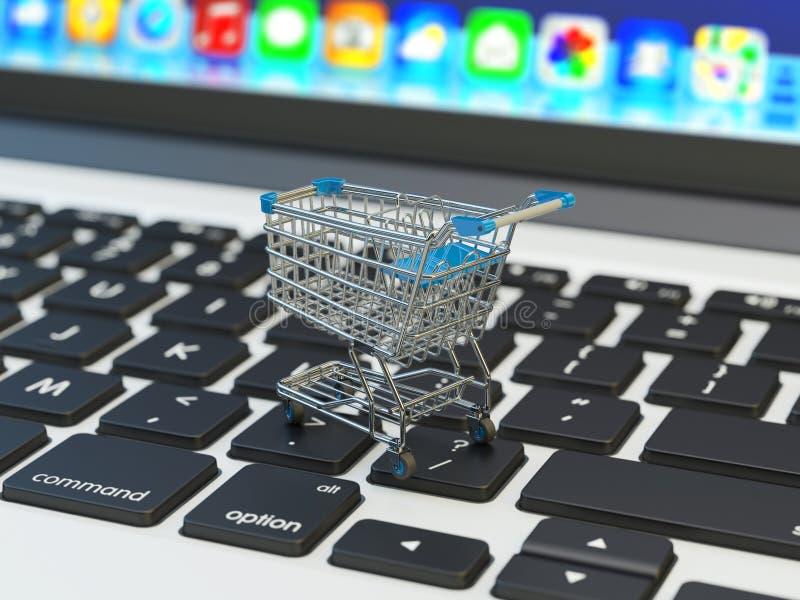 Internetshopping och online-köpbegrepp stock illustrationer