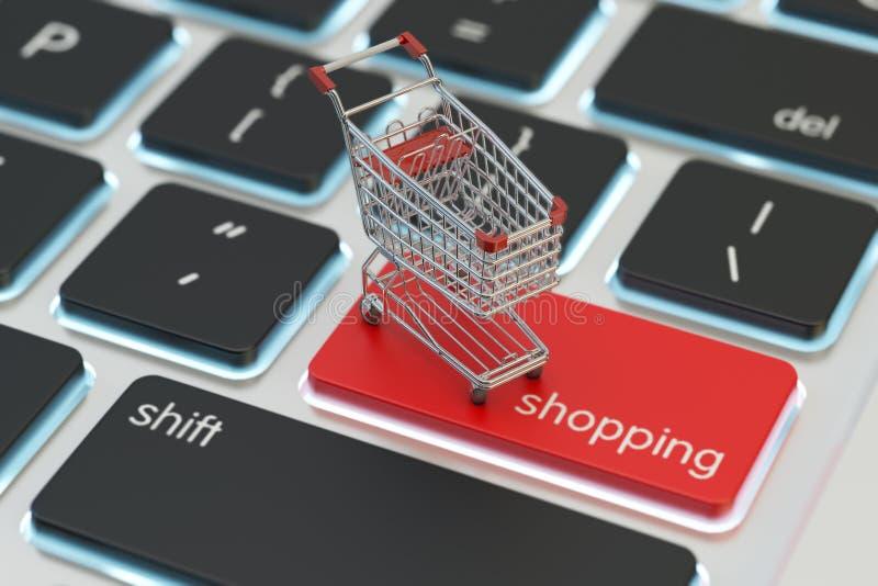 Internetshopping och online-köpbegrepp royaltyfri illustrationer
