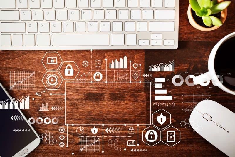 Internetsicherheit mit Arbeitsplatz lizenzfreie stockfotos