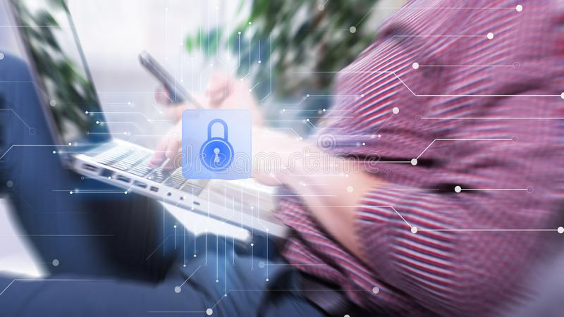 Internetsicherheits-Daten-Schutz-Geschäfts-Technologie-Privatlebenkonzept stock abbildung