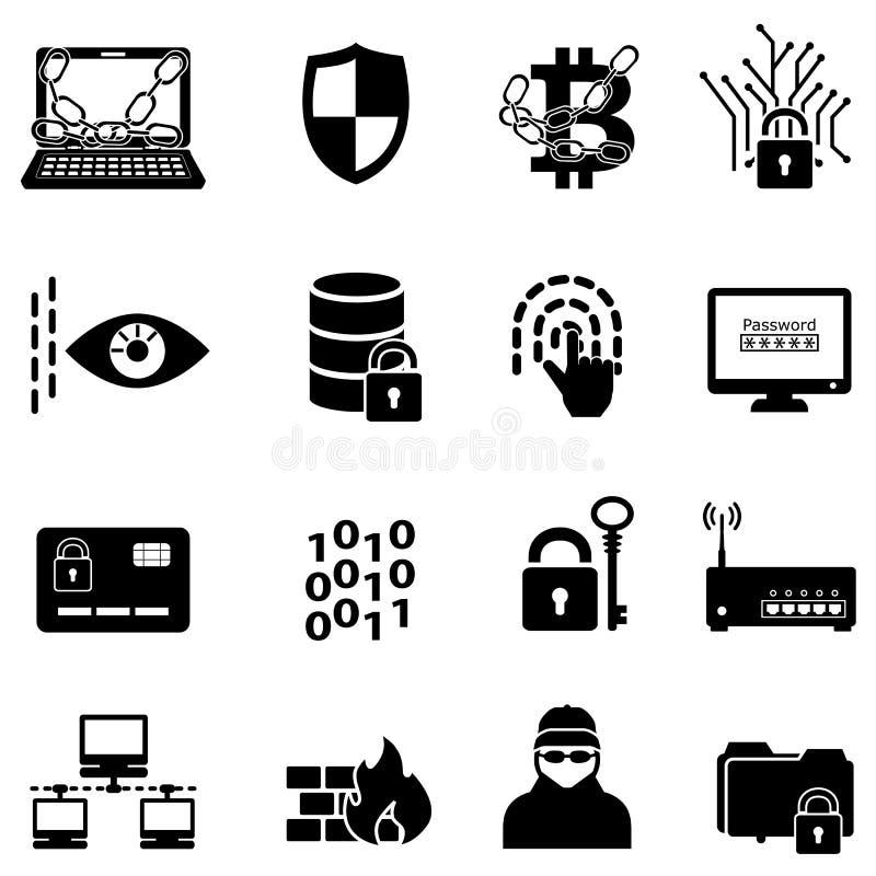 Internetsicherheits-, Datenschutz-, Hacker- und Verschlüsselungsnetzikonen lizenzfreie abbildung