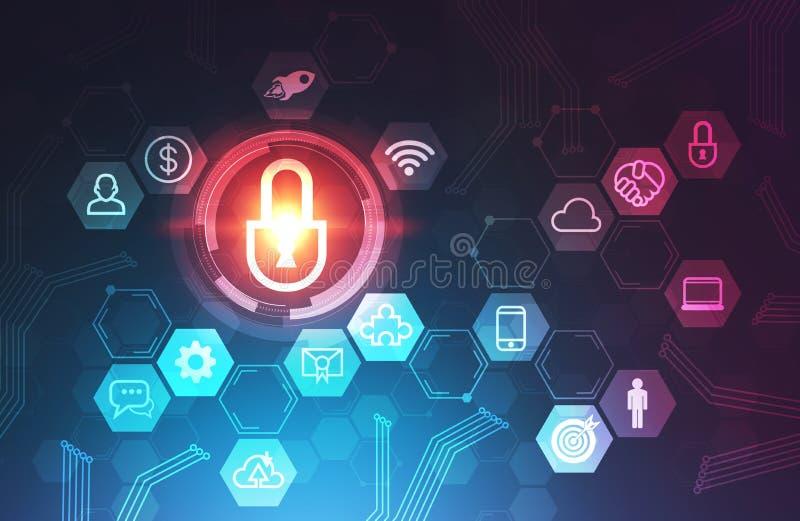 Internetsicherheits- und Geschäftsikonen, Blau lizenzfreie abbildung