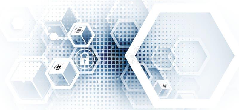 Internetsicherheits- und Informations- oder Netzschutz Zukunft technisch stock abbildung