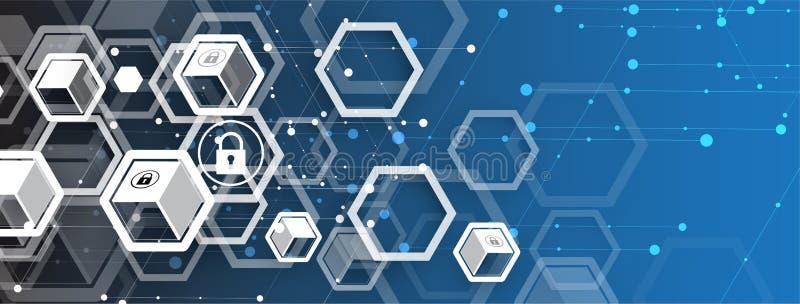 Internetsicherheits- und Informations- oder Netzschutz Zukunft technisch lizenzfreie abbildung