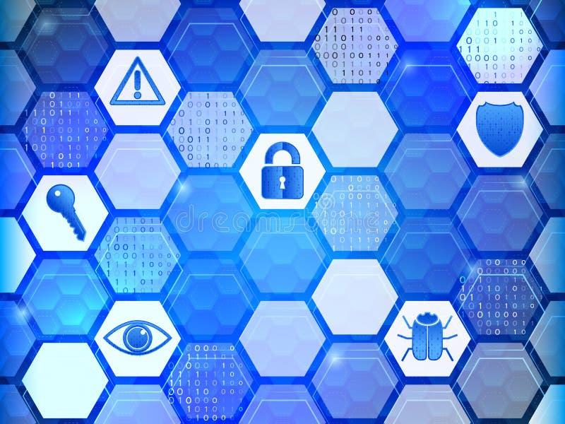 Internetsicherheitsikonen auf dem Hexagonhintergrund stock abbildung