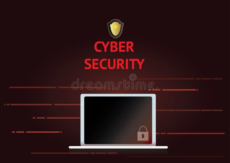 Internetsicherheitskonzept mit Laptop- und Verschlussikone lizenzfreie stockfotografie