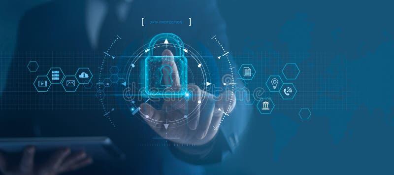Internetsicherheitsnetz Vorhängeschlossikone und Internet-Technologievernetzung Schützende Datenpersönliche information des Gesch lizenzfreie stockfotografie