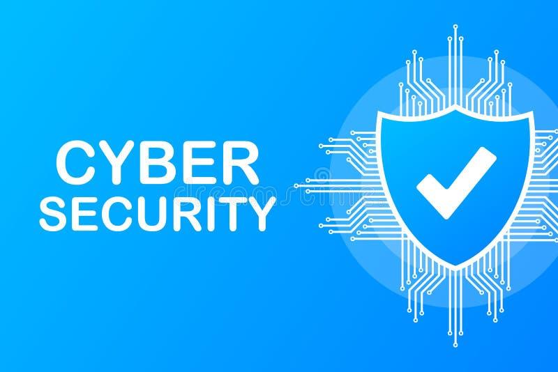 Internetsicherheitsvektorlogo mit Schild und H?kchen Sicherheitsschildkonzept Goldtext auf dunklem Hintergrund Auch im corel abge vektor abbildung
