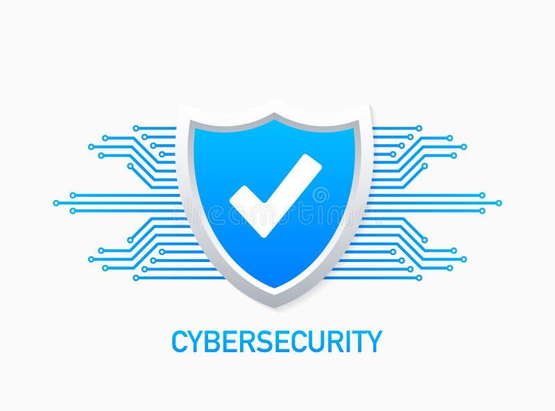 Internetsicherheitsvektorlogo mit Schild und H?kchen Sicherheitsschildkonzept Goldtext auf dunklem Hintergrund Auch im corel abge lizenzfreie abbildung