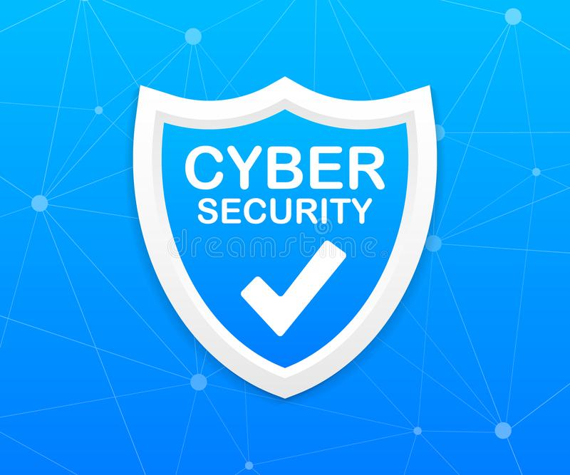 Internetsicherheitsvektorlogo mit Schild und H?kchen Sicherheitsschildkonzept Goldtext auf dunklem Hintergrund Vektorauf lagerabb stock abbildung