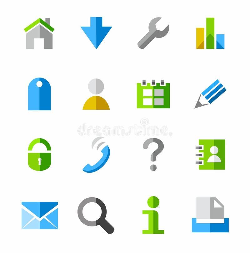 Internetsymboler som färgas royaltyfri illustrationer