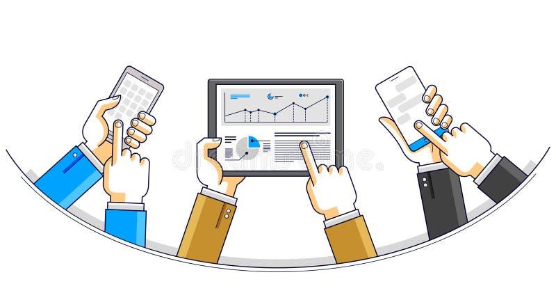 Internetteamworkarbetar har online-laget och kommunikation genom att använda grejer och apps, affärsmanhänder med telefoner och m stock illustrationer