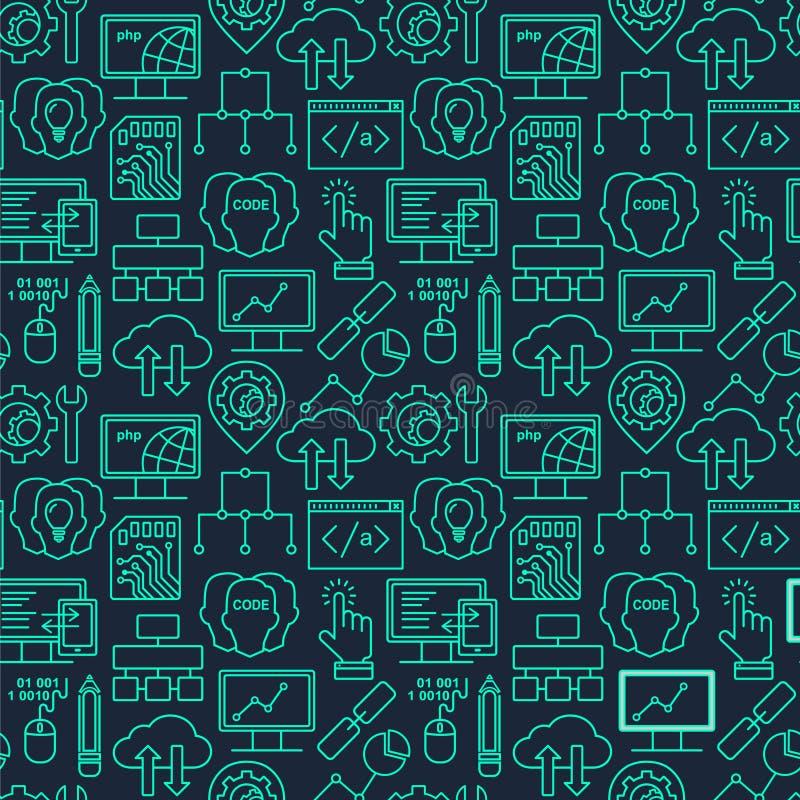 Internetteknologi och programmera sömlös bakgrund stock illustrationer