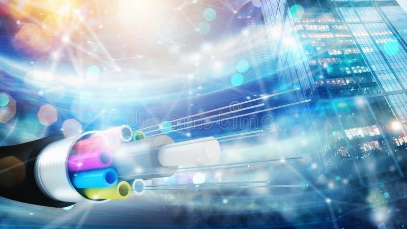 Internetuppkoppling med optisk fiber Begrepp av den snabba internet stock illustrationer
