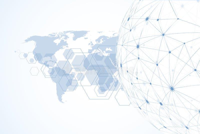 Internetuppkopplingbakgrund, abstrakt avkänning av den grafiska designen för vetenskap och teknik Anslutning för globalt nätverk royaltyfri illustrationer