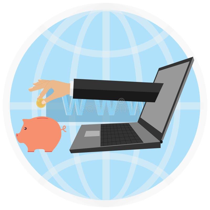 internety robią pieniądze Ręka z laptopu kłaść puszek pieniądze w prosiątko banku royalty ilustracja