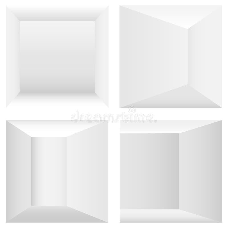 Interni in bianco e nero dell'interno 3D illustrazione vettoriale