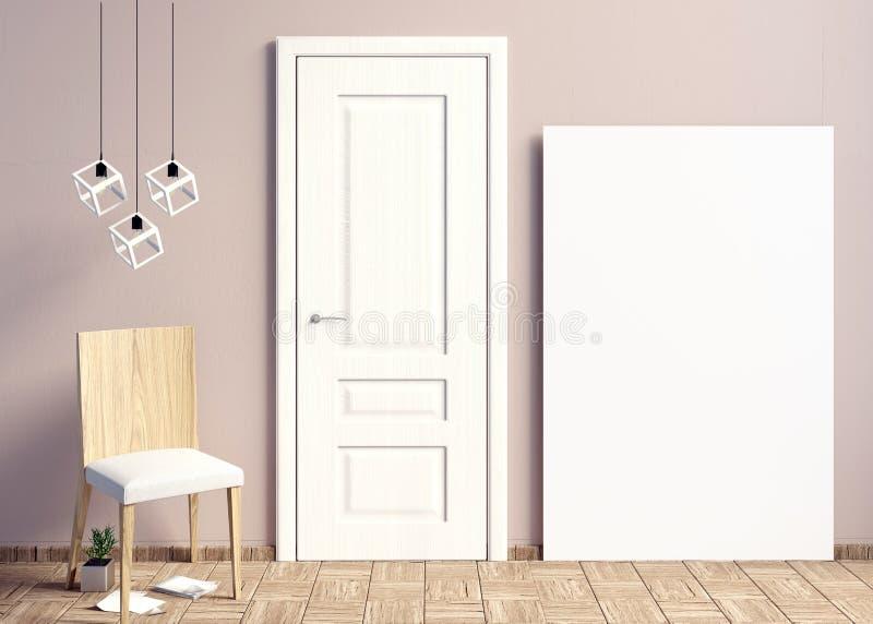 Interni con le porte bianche illustrazione 3D royalty illustrazione gratis