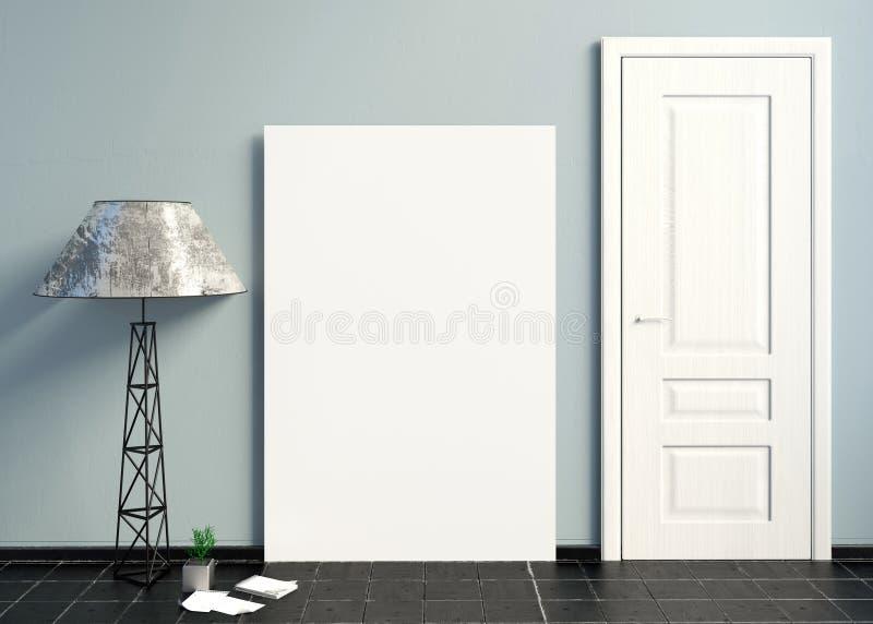 Interni con le porte bianche illustrazione 3D illustrazione vettoriale