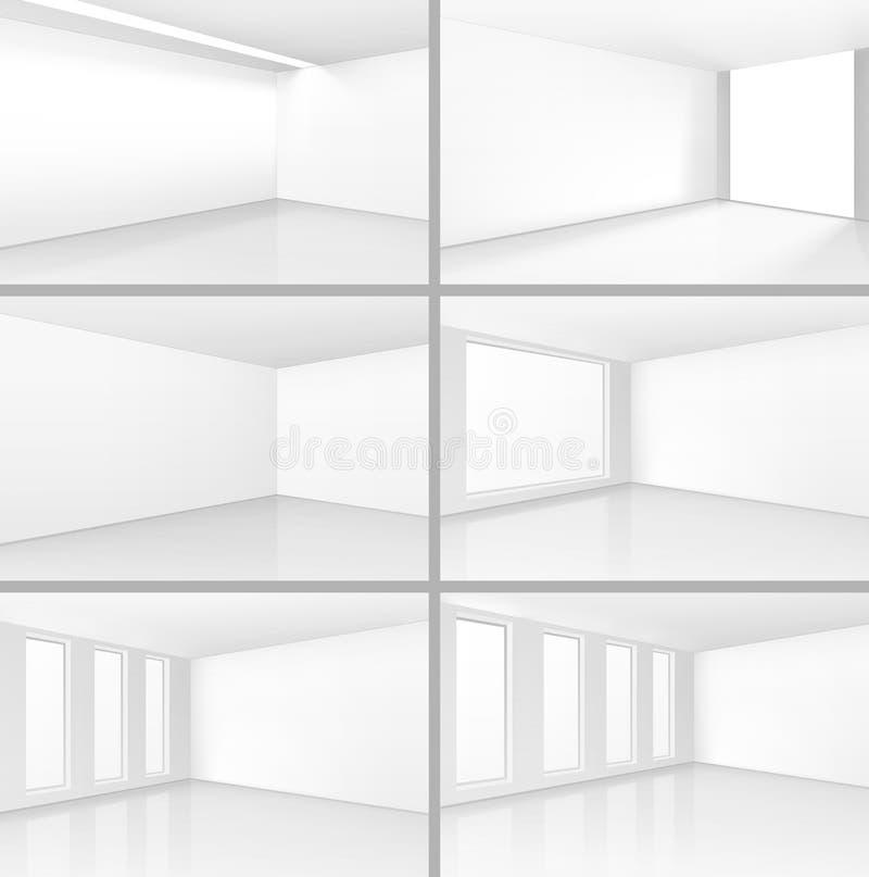 Interni della stanza bianca di vettore messi con il fondo vuoto della parete illustrazione vettoriale