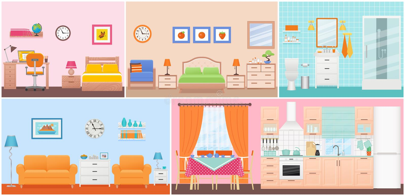 Interni della stanza Illustrazione di vettore nella progettazione piana Fumetto hous illustrazione di stock