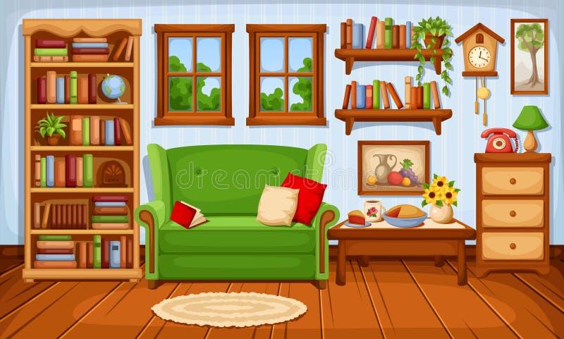 Interno accogliente del salone Illustrazione di vettore illustrazione di stock