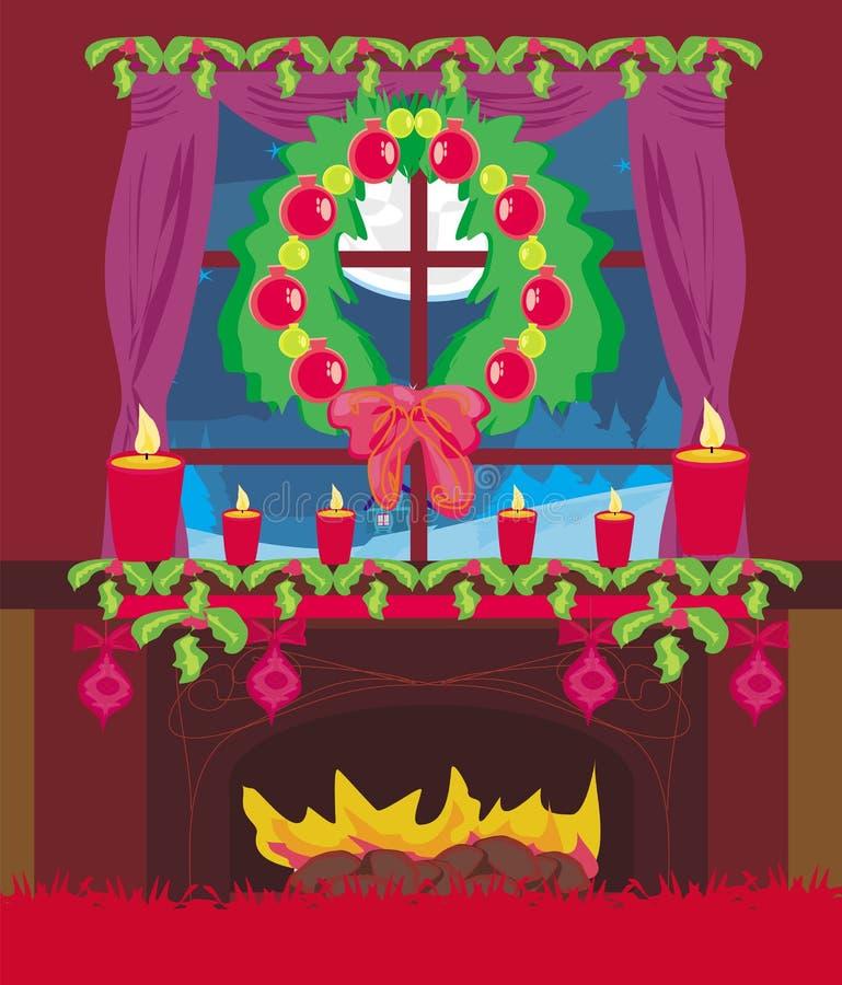 Interno alla moda del salone con il Natale royalty illustrazione gratis