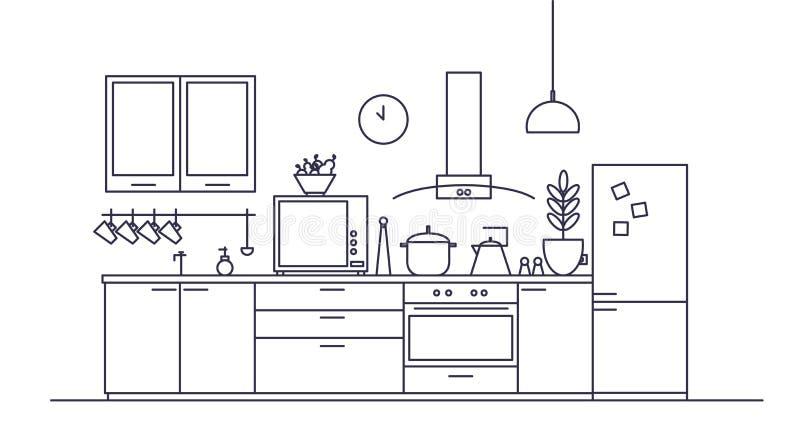 Interno alla moda della cucina in pieno di mobilia moderna, elettrodomestici, cucinando le facilità e le decorazioni domestiche illustrazione vettoriale