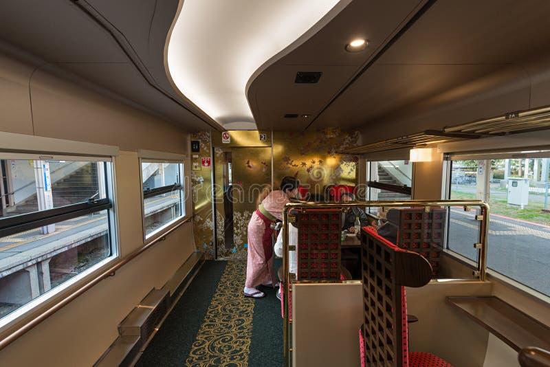 Interno automobile del treno di Hanayome Noren della seconda immagini stock libere da diritti