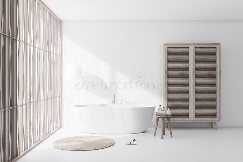 Interno bianco del bagno con la vasca ed il guardaroba illustrazione di stock