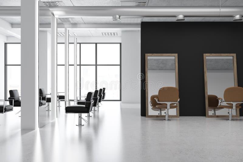 Interno bianco del negozio di barbiere delle colonne illustrazione di stock